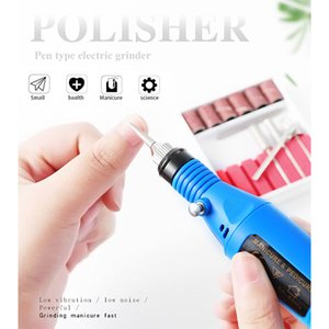 Electric Nail Drill Kit Pen Nail Drill Manicure Filer Tool Kit USB Polisher with 6 Replaceable Heads
