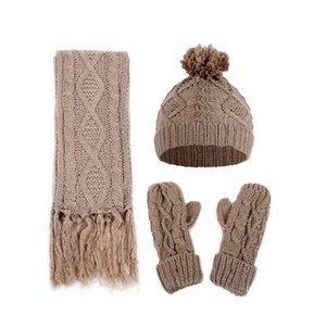 Осень и зима Женщины Алмазный Витой трикотажные шерсти Hat шарф и перчатки Три Piece Set