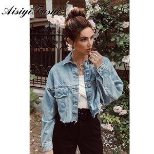 AISIYIFUSHI Boyfriend-geerntete Jean Jacket Women Summer Blue Denim Jacke 2019 langärmelige Damen Jacken Mäntel für Frühlings-T200113
