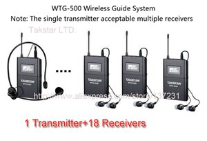 New Boutique Takstar WTG-500 UHF PLL Wireless Acoustic Transmission System 1 Transmitter+18 Receivers+Headworn MIC+18 Earphone