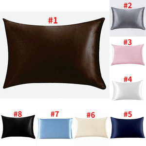 Seide und Satin Pillowcase Startseite glattes Eis Silk Kopfkissenbezug Reißverschluss Kissenbezug Schlafzimmer Kissenbezug DDA29