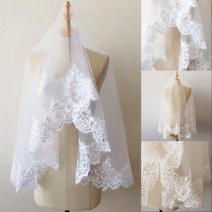 1,5M courte couche dentelle Sequin bord voile blanc de mariage Ivoire Tulle Bridal Veil mariage pas cher Accessoires CPA218 Voile Mariage