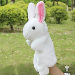 Yumuşak peluş Tavşanlar kuklalar oyuncaklar Mix toptan beyaz pembe sarı yeşil mor eli Puppets oyuncak eldiven bebek bulmaca bebek hediyeleri