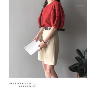 Manga de camisa de la manera camisa del color sólido del cuello redondo de la muñeca floja Famale Top para mujer literaria Puff