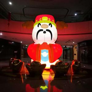 6m gigante gonfiabile dio della fortuna con i lingotti per i nuovi anni cinese decorazione Shopping Mall eventi deco scimmia gonfiabile di fortuna