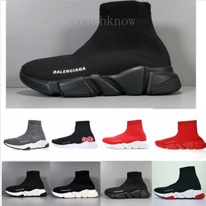 New Arrivlas s Fashion Luxurys For Women Men Speed Trainer off Red Triple Black Flat Casual shoes Sock Boots Mens Shoes K56L