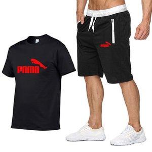 Manntrainingsnazug 2020 Designer Herren T-Shirt + Shorts Set pum Sommer Short Sleeve Anzug Gyms Casual Male T-Shirt 2 Stück Marken-Kleidung