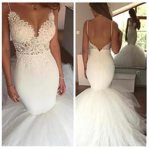 2021 Spaghetti-Streifen Meerjungfrau Brautkleider Slim Spitze Appliques Sexy Backless Perlen Lange Brautkleider Angeschnittene Vestidos de Ehe