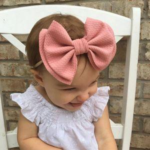 2020 New Arrival 6 Hair Bows Nylon Headbands Waffle Fabric Elastic Baby Headband Diy Girls Hair Accessories Headwear Hair Band babyskirt NuM