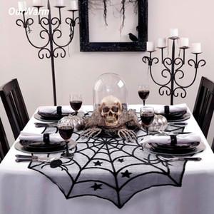 Halloween Party Ourwarm Decoração Spiderweb Pano de tabela 100 centímetros capas de tabela Lace preto para o Dia das Bruxas Decoração Home Decor