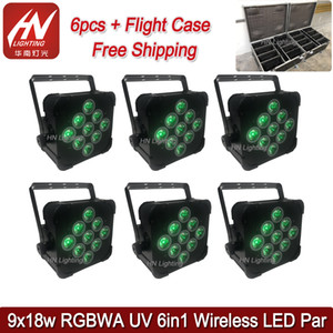 6pcs con il caso 9x18W RGBWA uv remoto / wifi / uplighting LED wireless mini par luci di potenza della batteria di DMX LED piatta par