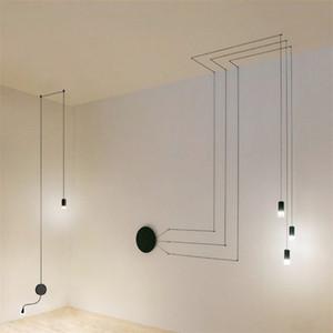 Arte Industrial DIY lámpara de pared Long Line Negro Luz de pared minimalista montado en la pared del LED forjado lámparas colgantes Habitación Sala G9