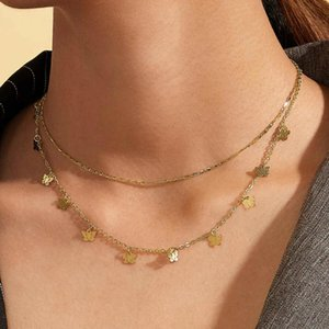 Boho Cute Butterfly Choker Necklace For Women Gold Silver Color Clavicle Chain 2020 Fashion Female Chocker Jewelry