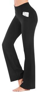 Karrleka Bootcut Pants Yoga com bolsos para Workout Mulheres cintura alta Bootleg calças barriga de Controle, 4 Pockets Trabalho calças para mulheres