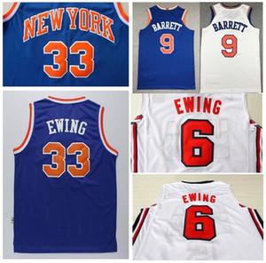 Broderie Sportswear pour hommes # 6 Patrick Ewing # 33 Maillot Patrick Ewing Bleu Nouveau 9 # RJ Barrett Chemises Légère Respirante