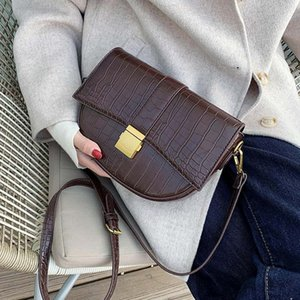 Padrão Pedra PU Leather Saddle Bag For Women 2020 Pequeno Sólido ombro Cor Messenger Bag Feminino Crossbody Bolsas