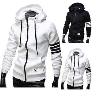 Wholesale- Men Hoodies Sweatshirt Casual Male Hooded Jacket Long Sleeve Slim Design Mens Zipper Hoodie Black  White Color with pocket
