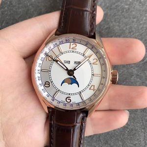 40MM hommes multi-fonction montre-bracelet montre d'affaires en cristal saphir imperméable Date automatique Jour FiftySix 4000E mois moonphase