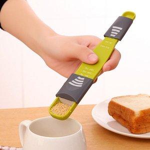 Escala ajustable Café cucharas dosificadoras Extremo doble 8 Puestos Medir cuchara Cuchara para hornear Cuchara Cocina Condimento Cucharas dosificadoras BH1467 TQQ
