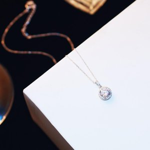 trend upscale high-end diamond necklace S925 silver sexy women clavicle chain fashion wild pendant necklace jewelry Valentine's Day gift