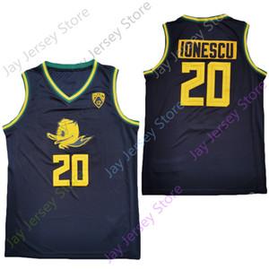2020 Nuovo NCAA Oregon Ducks del pullover 20 Ionescu College Basketball Jersey Green Black Dimensioni Gioventù per adulti Ricamo
