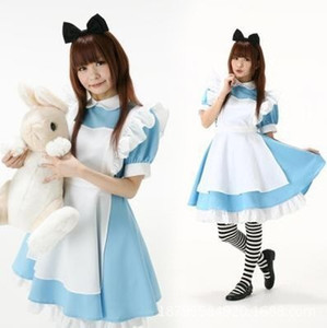 Fashion Halloween Cosplay Costume Japanese Best-Selling Fancy Girl Alice In Wonderland Fantasy Blue Light Tone Lolita Maid Outfit Dress M-XL