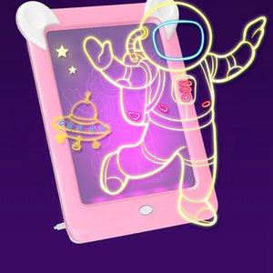 Niños adultos dibujo mágico Junta 3D llevó la muestra de visualización del panel de juguete Dibujo del artista luminoso de la plantilla del cojín Tabla Pintura Herramienta