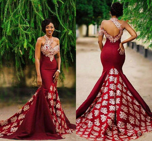Aso Ebi Style Burgundy Mermaid Evening Formal Dresses Gold Lace Sweep Train Halter Backless African Occasion Prom Party Dress