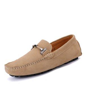 Hombres zapatos mocasines de cuero ocasionales del cuero genuino de los hombres hechos a mano de costura mocasines de suela blanda controladores Zapatos Zapatos Hombre