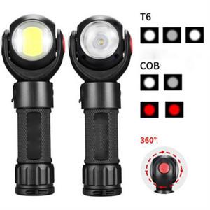 2020 New rotação de 360 ° USB LED lanterna recarregável Strong com ímã COB Luz de trabalho Iluminação portátil