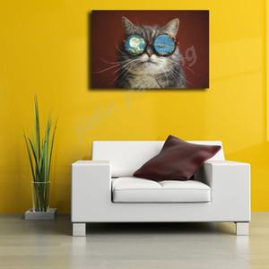 Black White Arrefecer Espaço Cat With Glasses pintura da lona impressão Living Art Oil parede da sala Home Decor Modern Painting Poster giclée