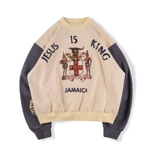 20ss Осень Зима США Америка хип хоп звезды Иисус Король Ямайка Лоскутная толстовка мужчины Crewneck толстовка женщины толстовка с капюшоном
