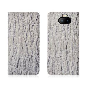 Bark Pattern Echtes Leder Flip Case für Sony Xperia XA3 Plus Handytasche mit Kartenhalter für Sony Xperia XA3 Plus Handytasche Kickstand