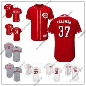 custom Men women youth Majestic CincinnatiReds37 Scott Feldman 31 Drew Storen 30 Ken Griffey Home Blue Red Baseball Jerseys