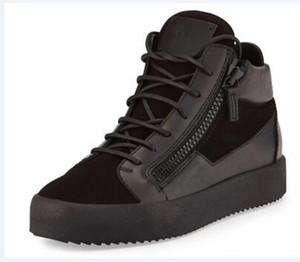 UE 35-47 marchio di moda scarpe nuove degli uomini superiori di alta-alta qualità in pelle Doppia cerniera, in pelle scamosciata nera decorazione cuciture Zip donne scarpe casual