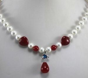 Collana New Design 3 Styles 8mm White Pearl / Red Jade + Collana con ciondolo in cristallo di giada rossa