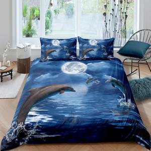 Jogo do fundamento Sea Turtle Dolphin capa de edredão com fronhas de solteiro Quarto Duplo completa Rainha King Size