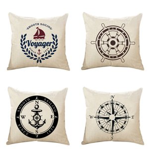 Wholesale Living Series PillowCase Nautical Series Decorative Square Pillow Case Anchor Steering Wheel Compass Cushion Cover