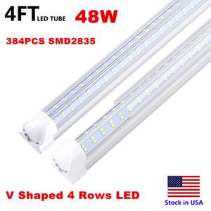 4ft 8ft LED Lights V-Shaped Integrated LED Tube Light Fixtures 120W 4 Row LEDs SMD2835 LED Lights 100LM W Stock in USA