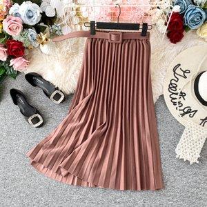 Women Pink Midi Skirts Belt High Waist Chiffon Pleated Long Skirts For Women Daily Office Skirts Saia Femme Jupe Y200704