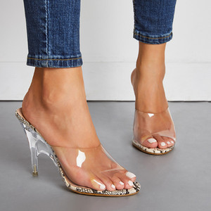 Club nocturno para damas fiesta de la impresión de la serpiente mujeres sexy 11 cm súper alto cristal tacón de aguja vestido sandalias peep toe pvc transparente zapatillas zapatos