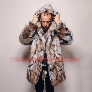 Erkek Coat Moda Erkek Uzun Ceket Yapay Kürk İnsan yapımı Coat Avrupa Ve Amerika Orta uzunlukta Coat Keep Sıcak