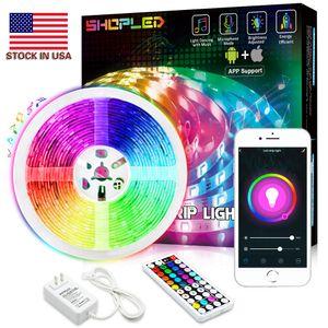 5050 RGB Wifi Controller LED Strip light 5M 30led m No-Waterproof Neon Flexible Tape Ribbon Strip Bluetooth Music Control 12V Power Adapter