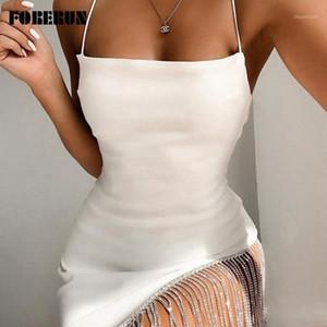 Forerun Diamonds Club Abiti Donna Party Night Spaghetti Strap Asymmetri Winter Dress Hem Ciondolo Bianco Vestidos Ropa Mujer1