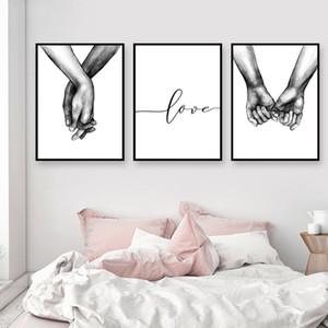 Nordic Poster Schwarz Und Weiß Händchenhalten Bild Leinwand Liebhaber Zitat Malerei Wandkunst Für Wohnzimmer Minimalistischen Dekor