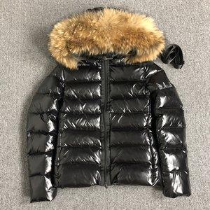 Womens abajo chaqueta de piel de invierno abrigos esquimales campana de fajas de pato blanco abajo abrigos de piel de mapache mujeres negras a lo largo cazadora chaqueta S-XL (Reino Unido S = L)