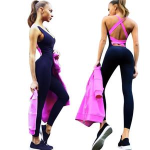 Entrenamiento Sexy Girls Backless Playsuit Medias de fitness Monos Traje Yoga Traje deportivo Chándal de gimnasio para mujer Body de una pieza Ropa deportiva