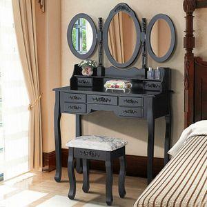 3 Зеркало 7 ящика Тумба Макияж туалетный столик Вуд стол Набор Табурет черный