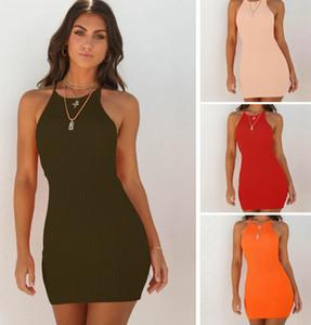 Le donne aderente Vestitino sexy spaghetti solido elastico maniche delle bande verticali casuale della cinghia S- XL di modo di estate vestiti