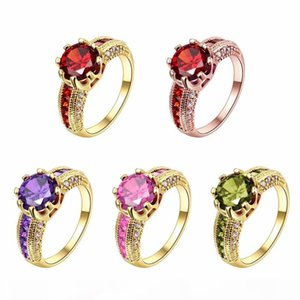 Wholesale New Engagement Rings Cubic Zirconia Rings Luxurious Red Jewelry Wedding Ring Women Ring For Party